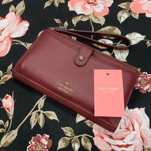 NWT Kate Spade Maroon Red & Gold Wristlet Wallet